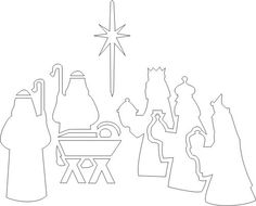 Free Printable Nativity Stencil, maybe I can print this on vellum with a LED tealight behind it