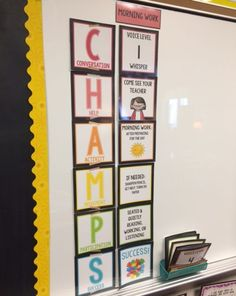 CHAMPS board gives students all the specifics they need to know First Grade Classroom, Science Classroom, Kindergarten Classroom, School Classroom, Classroom Ideas, Preschool Bulletin, Classroom Design, Classroom Procedures, Classroom Organization
