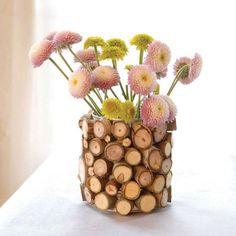 Wood Slice Vase - Tin Can, Glue, Wood Slices.