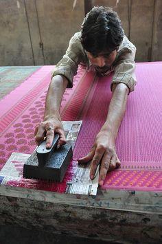 Block Printing telas estampadas de la India, trabajo a mano con sellos de madera.
