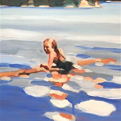 Lucy by Elizabeth Lennie Art And Illustration, Figure Painting, Painting & Drawing, Arte Inspo, Bright Colors Art, Underwater Painting, Surf Art, Fine Art, Beach Art