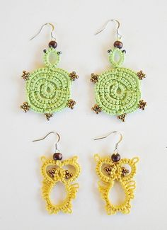 animal earrings (needle tatting)