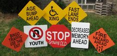 Old People Crossing Road Sign | Yard Card Surprise! - Old Age Traffic Signs Lawn Greetings/Yard Card ...