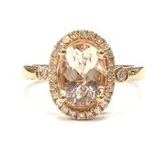 Oval Morganite Engagement Bridal Ring Pave Diamond Wedding 14K Rose Gold 7x9mm
