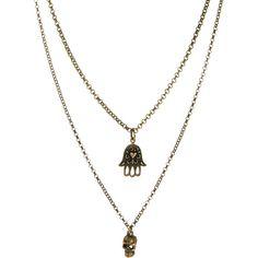 Jamie Jewelry Skull & Hamsa Hand Lucky Charm Necklace (270 NOK) found on Polyvore