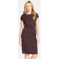 Adrianna Papell Bird Print Knit Sheath Dress
