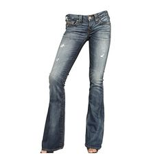 True Religion Destroyed Stretch Denim Carrie Jeans ❤ liked on Polyvore