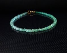 Emerald  bracelet Solid 14 k Gold clasp Gemstone by LAminiJewelry