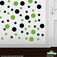 Black / Lime Green Polka Dot Circles Wall Decals #decals #stickers #decalvenue
