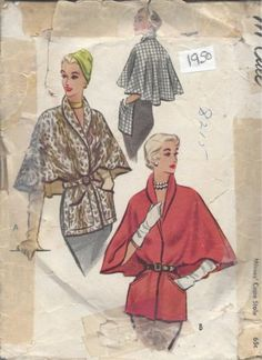 1950 Vintage Sewing Pattern STOLE-CAPE B36-38 LARGE (R760)