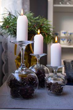 SISUSTUSVÄRKKÄILYÄ: LASIT YMPÄRI Christmas Time, Merry Christmas, Christmas Interiors, Koti, Christmas Decorations, Table Decorations, Beautiful Christmas, Seasonal Decor, Tea Lights
