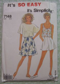 Easy to Sew Misses Shorts in Two Lengths and Tops Sizes 8 10 12 14 16 18 20 Vintage 1990's Simplicity Pattern 7148 UNCUT
