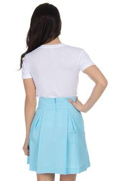 Powder Blue - Pleated Solid Seersucker Skirt Back