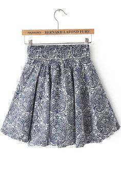 Blue Elastic Waist Vintage Floral Pleated Skirt pictures