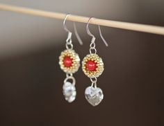 Items similar to Swarovski crystal heart beaded earrings - Frosted Heart beaded earrings with Miyuki beads and Swarovski crystals (ID: on Etsy Red Earrings, Heart Earrings, Beaded Earrings, Crochet Earrings, Handmade Jewellery, Etsy Jewelry, Earrings Handmade, Unique Jewelry, Handmade Shop