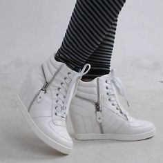 New Women's Fashion Sneakers Lace Up Wedge Shoes Hidden Heel High Top Ankle Shoe   eBay