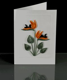Blank Card - Bird of Paradise Flower Design Quilling Animals, Quilling Flowers, Quilling Cards, Quilling Ideas, Crafty Fox, Crafty Craft, Birds Of Paradise Flower, Blank Cards, Fabric Scraps