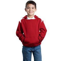 Sport-Tek Youth Red Pullover Hooded Sweatshirt with Contrast Color