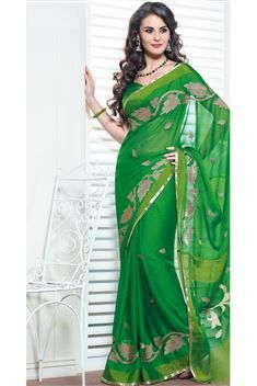Designer Green Chiffon Saree