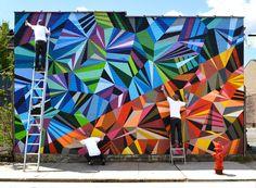 Matt W. Moore - XYZ AXIS Monster Mural : Hot VS. Cold. 1418 Clay Street. Cincinnati, Ohio.