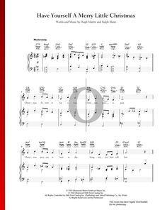 Have Yourself A Merry Little Christmas by Ralph Blane & Hugh Martin - Piano Sheet Music Christmas Piano Sheet Music, Merry Little Christmas, Piano Music, Special Occasion, Songs, Traditional, Holiday, Vacations, Holidays