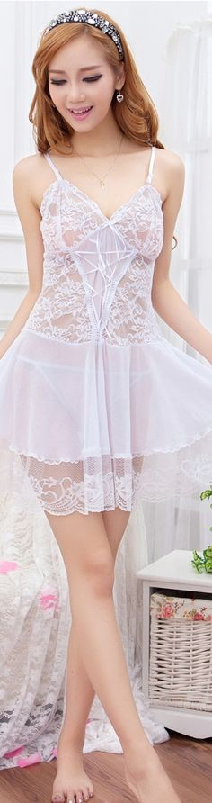 wow white lace chemise very sexual could wear under a white dress for wedding
