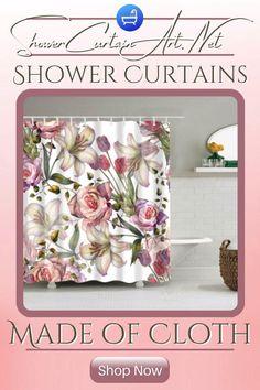 Drastically enhance your bathroom decor with a soft & stylish fabricshower curtain from Shower Curtain Art! Shower Curtain Art, Floral Shower Curtains, Shower Accessories, Bathroom Fixtures, Fabric Flowers, Soft Fabrics, Vibrant Colors, Decor, Stylish