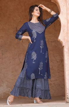Indian Stylish Embroidery Rayon Blue Kurti With Sharara Set Special For Women And Girls,Gift For Her. Free Express Shipping In USA/UK.