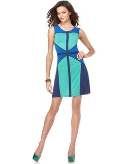 ShopStyle: BCBGMAXAZRIA Dress, Colette Sleeveless Scoop Neck Colorblocked Geometric A Line Sheath