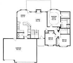 1339 square feet, 3 bedrooms, 2 batrooms, 3 parking space, on 1 levels, Floor Plan Number 1