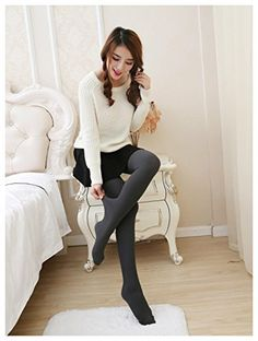 Women Warm Autumn Winter Stockings Socks Stretch Tights Ribbed Pantyhose ColorDark Gray * For more information, visit image link.
