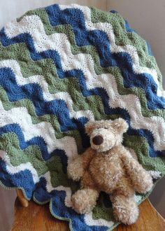 Crocheted Ripple Stripe Baby Boy Blanket by OneClassyHooker