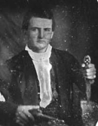 This picture depicts James Black. Black was the creator of the Bowie knife. James Bowie was the first person to make the Bowie knife popular. This is said to be the knife James Bowie used at the famous stand off at the Alamo. Mexican American War, American History, Texas History, World History, San Antonio, James Bowie, Detective, Texas Revolution, Republic Of Texas