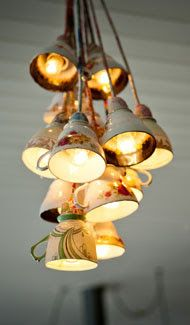 Tea Cup Chandelier...great use for odd cups found at thrift stores!