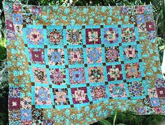 Double Bed Quilt Twin Quilt Dorm Quilt Turquoise Brown