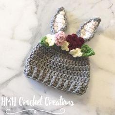 Crochet bunny hat crochet rabbit hat girls by hmhcrochetcreations