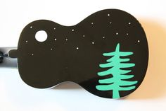 Nighttime, black Emus ukulele, hand-painted. Available with a quote or as is. Made in Toronto, Canada.