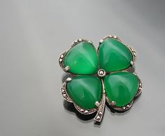 Art Deco 935 Silver Vintage Clover Shamrock by MinistryofLight