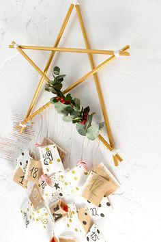 Estrella de estilo escandinavo para hacer un calendario de adviento navideño.