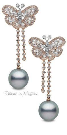 YOKO London ~ Pearl Earrings in rose gold w diamonds set w 14-15mm Tahitian Pearls