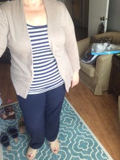 Old Navy Stripe Tee with Navy Slacks and Taupe Cardigan