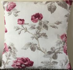 These cushions are handmade in a beautiful floral linen and cotton fabric so could fit into any stylish home.  Dimensions: 18 inches wide x 18 inches tall (46cm x 46cm)  Each cushion is handmade so the pattern placement may differ slightly from the attached photographs and please note that the cushion insert is not included.  Everything is made and stored in clean, smoke and pet-free premises.  Please contact me if you have any questions.  Thanks