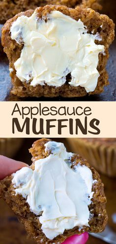 These moist homemade applesauce muffins can be vegan and oil free, and they're great for a healthy snack or breakfast #recipe #applesauce #healthysnack #muffins #vegan #vegansnack #breakfast #healthy #apple #oilfree #snack