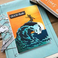 Surfs Up, Laguna Beach, Surfboard, Hero Arts Cards, Beach Cards, Surfer, Fancy, Diy Scrapbook, Scrapbooking