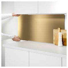 LYSEKIL Wall panel Double sided brass-colour/stainless steel colour x 55 cm - IKEA Brass Kitchen, Kitchen Backsplash, Kitchen Decor, Easy Backsplash, Küchen Design, Deco Design, House Design, Kitchen Wall Panels, Diy Projects Apartment