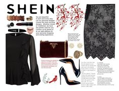 """""""Shein contest"""" by nedma-aganovic ❤ liked on Polyvore featuring Bony Levy, River Island, Prada, Christian Louboutin, Urban Decay, Bobbi Brown Cosmetics, Too Faced Cosmetics, Guerlain, Max Factor and Brewster Home Fashions"""