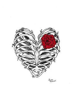 by Laura Marcuet Dark Art Drawings, Cool Drawings, Drawing Sketches, Tattoo Drawings, Art Du Croquis, Skeleton Art, Skeleton Drawings, Deep Art, Anatomy Art