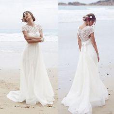 Brautkleider Weiss/Elfenbein Strand Hochzeitskleid 2016 Gr:32 34 36 38 40 42++++   eBay