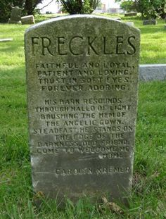 "Headstone for a dog named Freckles - Pet Cemetery in Ohio.they must have loved their dog so much.It says ""steadfast he stands on the edge of darkness, old friend, come to welcome me home"" Cemetery Monuments, Cemetery Headstones, Old Cemeteries, Graveyards, Pet Cemetery, Cemetery Statues, Unusual Headstones, Post Mortem Photography, Casket"