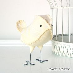 Bessie the Soft Sculpture Fabric Bird Chick by Sweet Reverie, $22.00 in pastel yellow. Easter chick